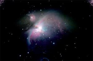 M42 - Nebulosa di Orione; diametro 25 anni-luce; distanza circa 1250 anni-luce; ripresa con LX200 f/5, elaborazione con IRIS di Christian Buil.