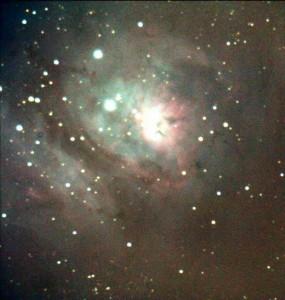 M8 - Nebulosa Laguna. Dettaglio con lievemente diversa elaborazione dei colori.